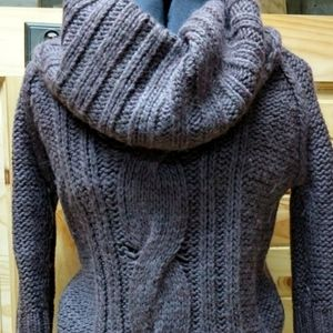 Anthro KENJI Cowl Neck Cable Sweater Dress